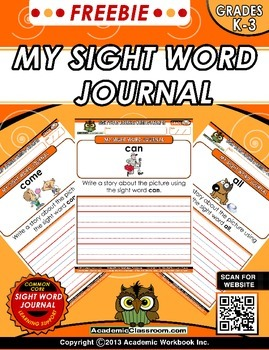FREEBIE My Sight Word Journal Writing Prompts Level-A {Lit