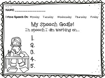 """FREEBIE - """"My Speech Goals"""""""