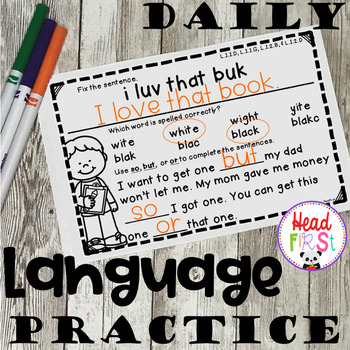 FREEBIE NO PREP Daily Grammar Practice Worksheets Spiraled Review for 1st Grade