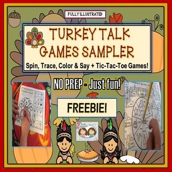 FREEBIE! NO PREP-JUST FUN! TURKEY TALK ARTICULATION GAMES SAMPLER