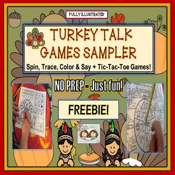 FREEBIE! NO PREP-JUST FUN! TURKEY TALK ARTICULATION GAMES SAMPLER