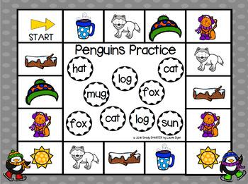 FREEBIE:  NO PREP Penguin Themed CVC Words Bump Game