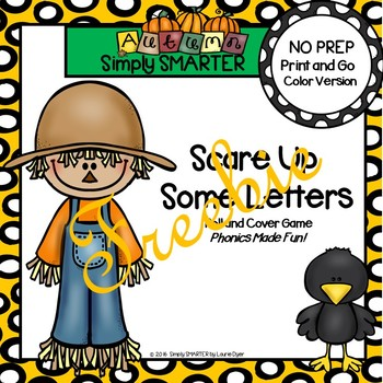 FREEBIE:  NO PREP Scarecrow Themed Letter Roll and Cover Game