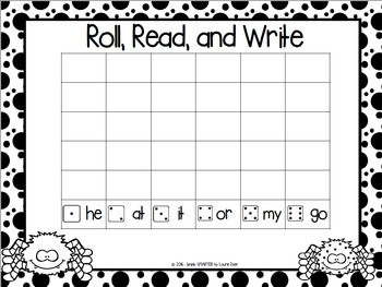 FREEBIE:  NO PREP Spider Themed Roll, Read, and Write Game