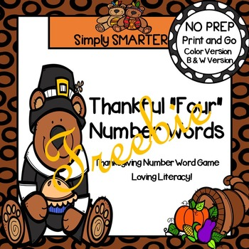 "FREEBIE: NO PREP Thankful ""Four"" Number Words Spin and Cover Game"