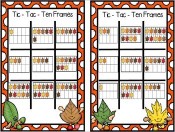 FREEBIE:  NO PREP Tic-Tac-Ten Frames Autumn Game