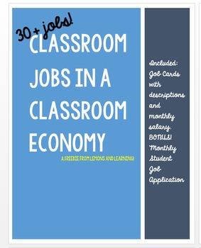 FREEBIE! Navy Classroom Economy Job Cards