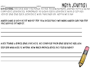 FREEBIE No Prep Printable Math Journals- 2nd Grade