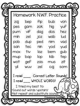 FREEBIE NWF Assessments- Nonsense Word Fluency (Elephant Theme)