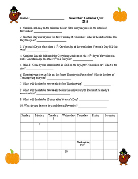 FREEBIE November Calendar 2016 Activity