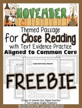 FREEBIE: November Close Reading Passage w/ Aligned Text De