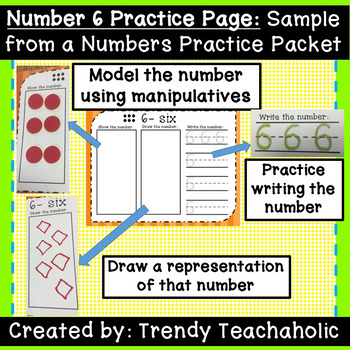 FREEBIE Number 6 Practice Page NO PREP! Practice showing, drawing & writing #6