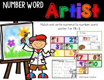 FREEBIE--Number Word Artist--Match & Write Number Words Center for K-1