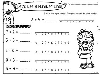 FREEBIE: Number line Addition- counting on