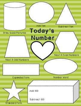 FREEBIE Number of the Day Worksheet