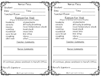 FREEBIE: Nurse Passes - Quick and Easy Timesaver!