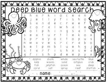 FREEBIE!  Ocean Word Search