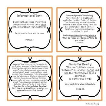 FREEBIE - October Bell Ringer ELA Task Cards for Upper Elementary/Middle School