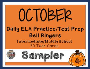 FREEBIE - October Bell Ringer ELA Task Cards for Upper Ele