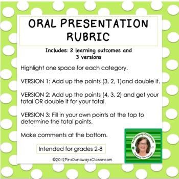 FREEBIE Oral Presentation Rubric