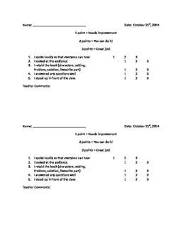 FREEBIE!! Oral presentation primary checklist for assessment