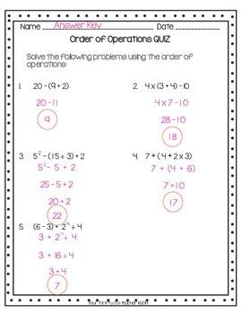 FREEBIE - Order of Operations Quiz