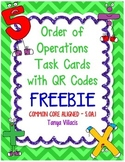 FREEBIE Order of Operations Task Cards with QR Codes COMMO