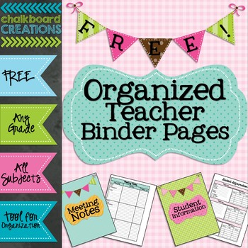 FREEBIE: Organized Teacher Binder Pages (Meeting Notes and Student Information)