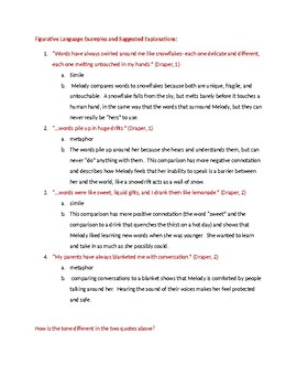 FREEBIE! Out of My Mind- Chapter 1 Figurative Language Analysis Task With KEY