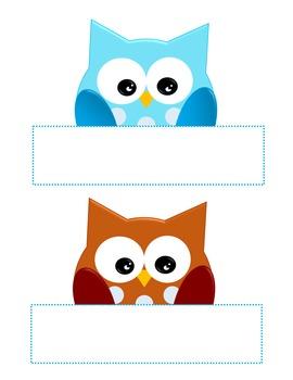 Owl Labels Boy and Girl, Blackline Digital Clip Art Clipart