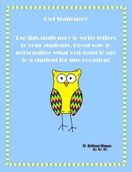 FREEBIE Owl Stationery