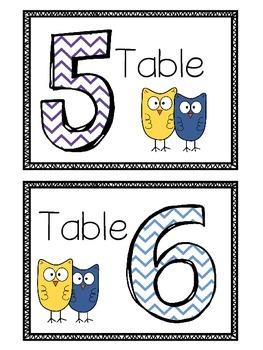 FREEBIE-Owl Table Numbers