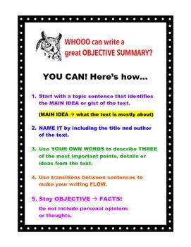 FREEBIE! Owl Theme Objective Summary Chart - Makes a Great Mini-Poster