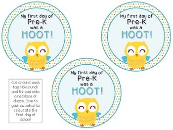 FREEBIE! Owl Themed Necklace Tags {1st Day Back to School} Hoot Bird