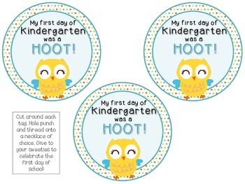 FREEBIE! Owl Themed Brag Tags {1st Day Back to School} Hoot Bird Necklace