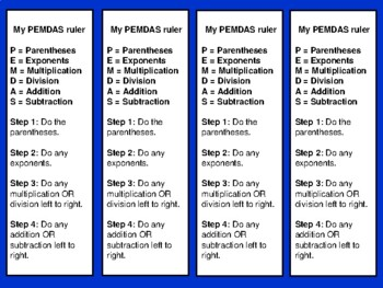 FREEBIE  PEMDAS Order of Operations Math Bookmarks