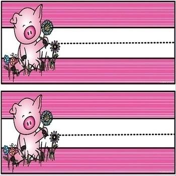 Spring Theme Pig Name Plate