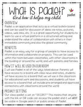 FREEBIE Padlet Informational Page and Permission Form