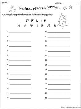 FREEBIE Navidad Palabras, palabras, palabras Vocabulary game
