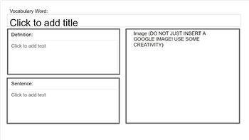 FREEBIE Paperless Vocabulary Practice No-Frills Template