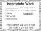 FREEBIE* Parent Communication: Incomplete Work Notes
