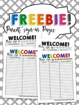 freebie parent conference sign in sing up sheets by the tally tales