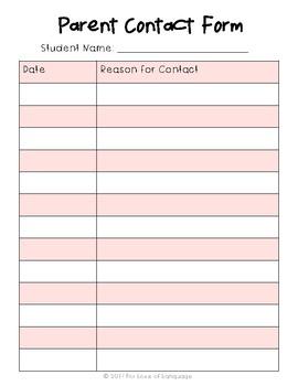 FREEBIE--Parent Contact Form