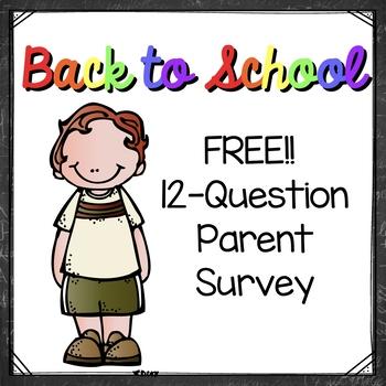 FREEBIE! Parent Learning Survey