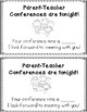FREEBIE** Parent-Teacher Conference Reminder Note