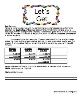 FREEBIE Parent/Teacher Conference Form-EDITABLE