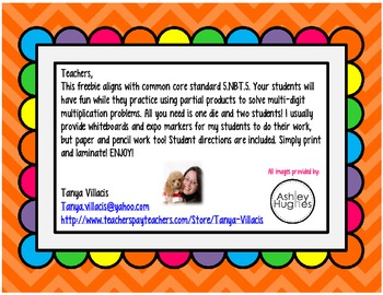 FREEBIE Partial Products Fruit Punch Game COMMON CORE ALIGNED 5.NBT.5
