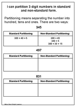 FREEBIE Partitioning and Rounding - Whole Number - Year 2