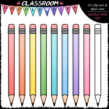 freebie pastel pencils clip art school supplies clip art b w set rh teacherspayteachers com
