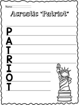 FREEBIE Patriot Acrostic Poem
